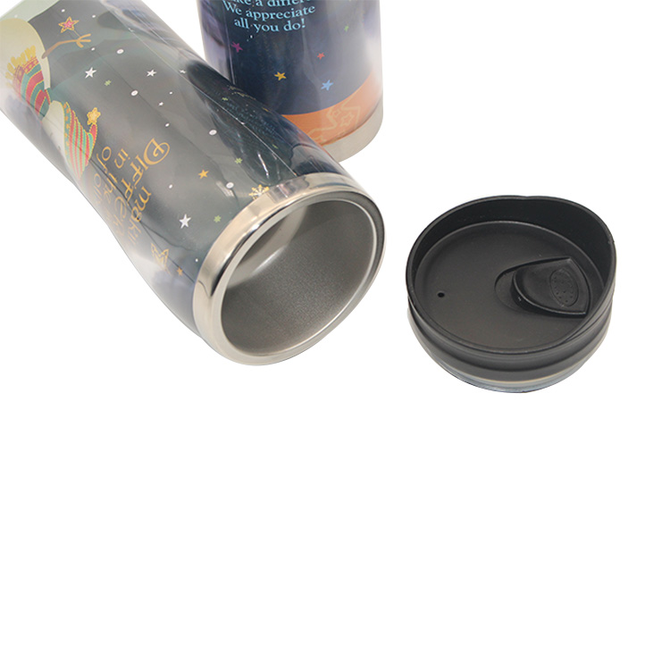 Recycled coffee mug plastic bottle outer and stainless steel inner travel coffee mug