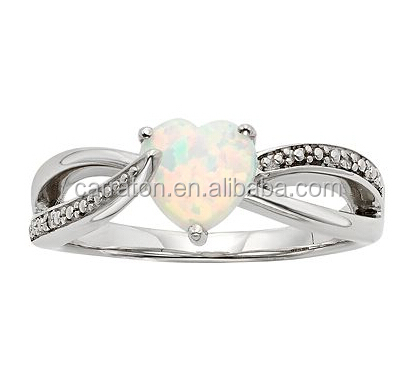 7.0mm Heart Shape Lab Created Opal Silver Engagement Ring