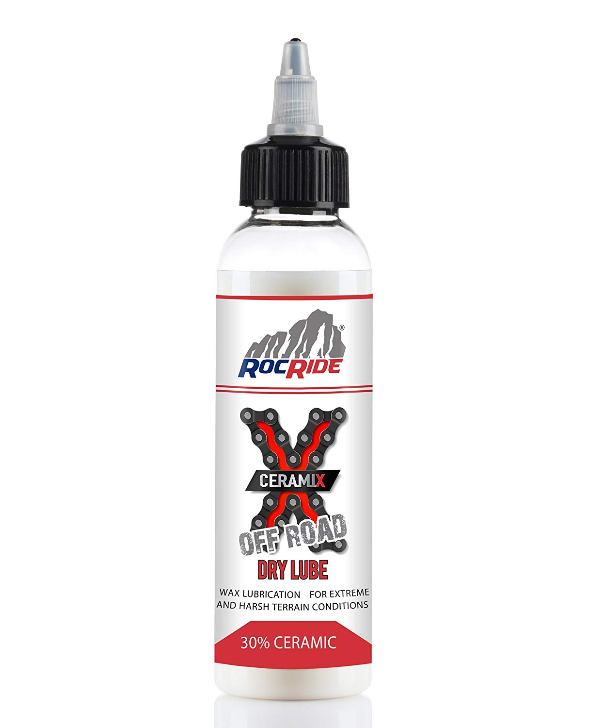 RocRide CERAMIX Off Road Dry Chain Lube Wax Based with PTFE. 3.38oz Bottle.