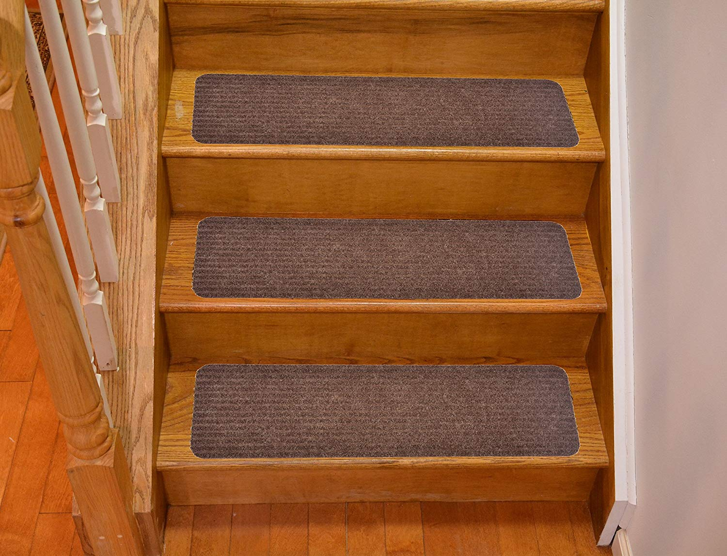 WCHUANG Wood Anchor Stair Treads Non-Slip Carpet Green Rectangle Stair Rugs Pads Indoor Outdoor Rubber Mats for Staircase Set of 5