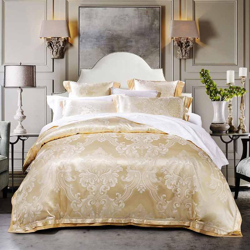 Beige Jacquard Silk Bedding Sets King Queen Size 4pcs
