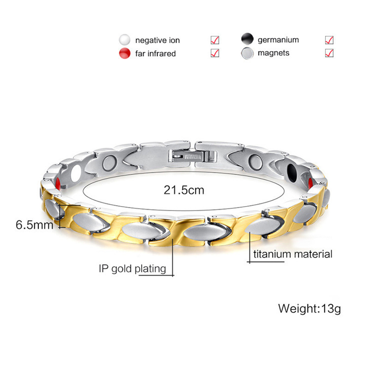 Custom design magnetic stainless steel gold bracelet for woman