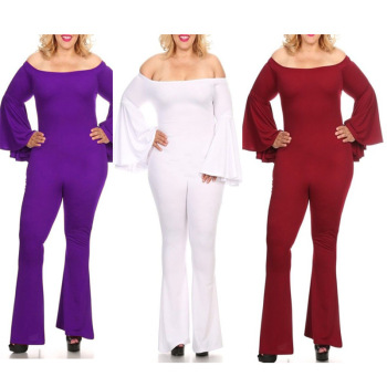 F20595a New Fashion Fat Womens Jumpsuits Round Neck Sexy Plus Size