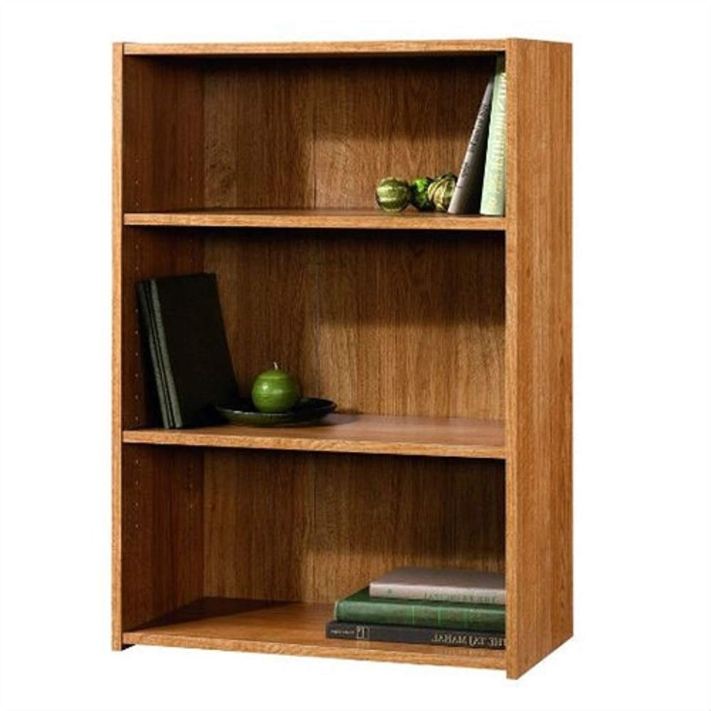 Myeasyshopping modern oak finish 3 shelf bookcase with 2 adjustable shelves made in usa