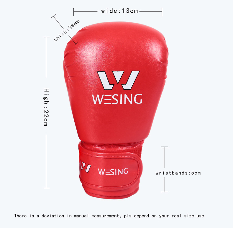 6oz Wesing kids sanda gloves kids PU leather boxing glove with blue red color