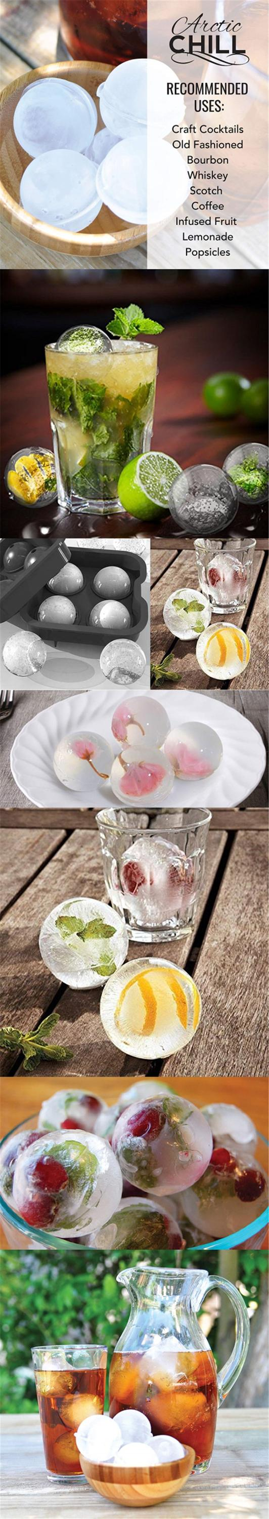 Ice Ball Maker Novelty Food-Grade Silicone Ice Mold Tray With 4 X 4.5cm Ball Capacity