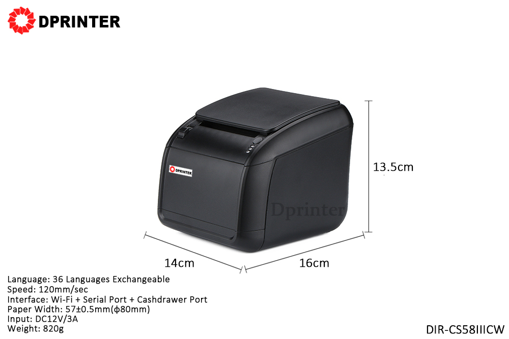 Dprinter 58mm Serial + Cashdrawer Ports WIFI Thermal Receipt Pos Printer with Auto Cutter