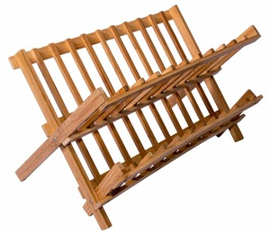 Bamboo Scissor Style Folding Dish Rack, Flatware Holder Set