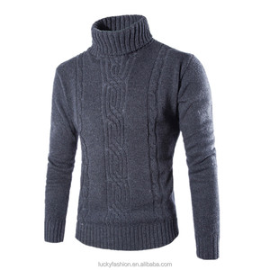 New High Collar Hand Knit Big Grey Sweater Men