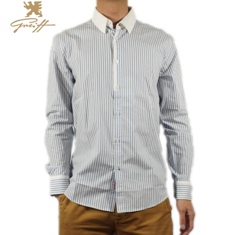 59c92d9c89 Get Quotations · Mens Striped Shirt With White Collar Mens Business Shirts  Male Blue Cotton Long Sleeve Shirt