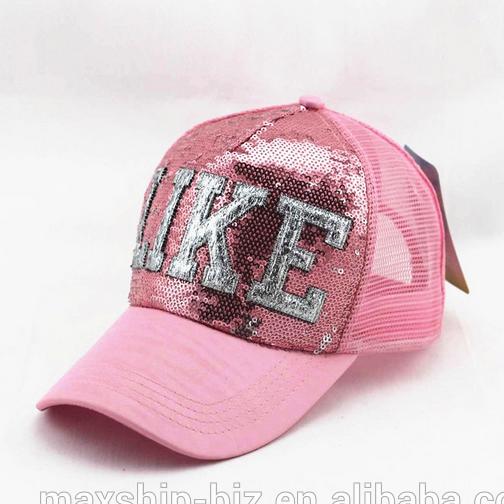 6f59b6865fb Sequins Snapback Baseball Cap With Mesh Back - Buy Baseball Cap ...