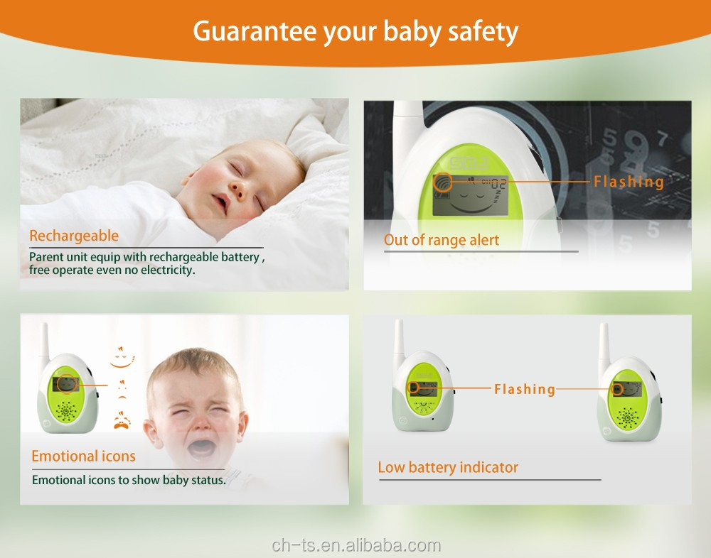 wireless long distance baby audio sound monitor with music temperature sensor for infant