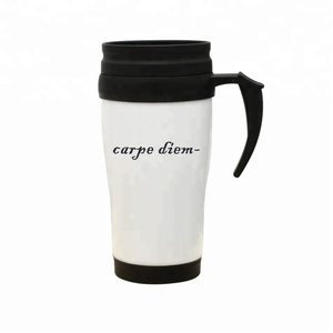 Bulk double wall plastic travel mug advertisement paper insert with handle lid of manufacturer's direct-selling