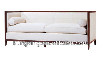 Modern Wood Arm Trim Fabric Sofa