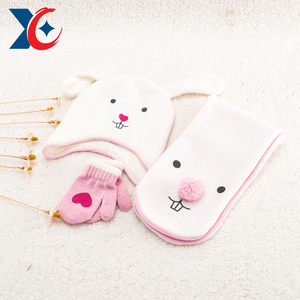 children kids Baby animal cute scarf hat gloves sets