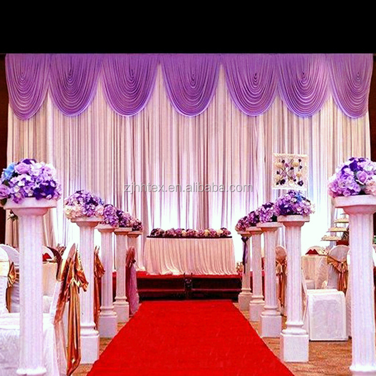 Polyester shinning 280cm satin stage decoration backdrop fabric, luxury drapes curtains