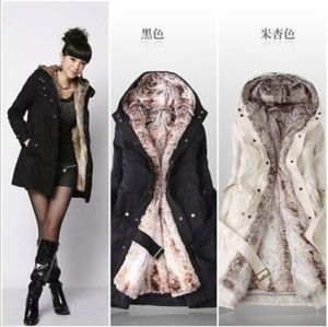 alson Women Winter long Cotton Padded Coat Parka Down Jacket Fur Collar Hooded Outwear