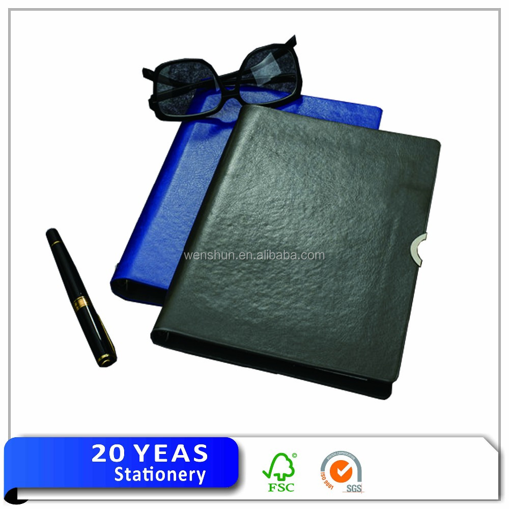 The leather notebook book with front pocket/leather notebook business