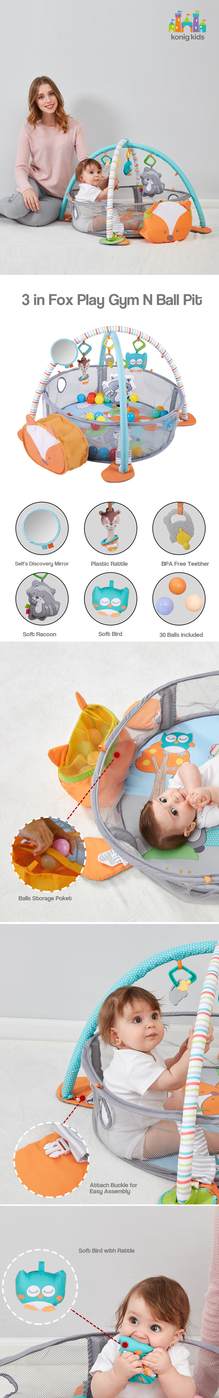 Educational Baby Gym Multifunction Gym Folding Colorful  3 in 1 activity Baby Play Gym With Ocean Balls For Kids