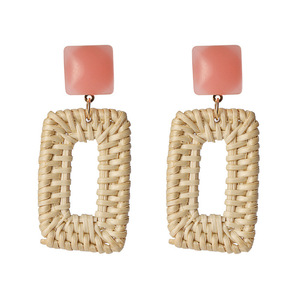 Korean version of the popular red models straw rattan wood oval hoop earrings KL5006