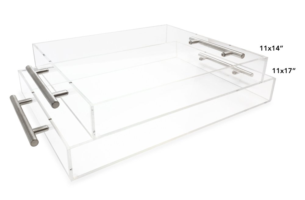 "CLEAR SERVING TRAY - Spill Proof - 20"" Large Premium Acrylic Tray for Coffee Table, Breakfast, Tea, Food, Butler - Decorative Di"