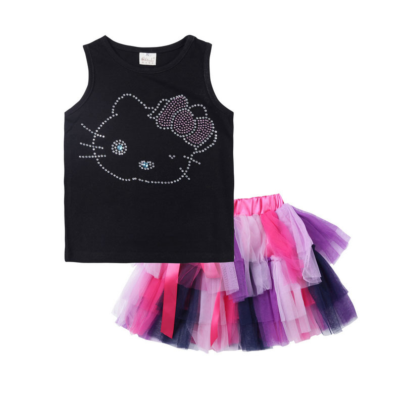 bc148bcb0 Get Quotations · New Hello Kitty Girls Clothes Suits Children Cotton  Cartoon Vest+Tulle Skirt Kids Summer Sleeveless