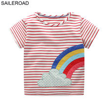 SAILEROAD 6 лет топы для девочек с единорогом, детская одежда, летняя детская одежда, хлопковая детская футболка для девочек, подарок(Китай)