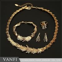 Fashion 4Pcs Costume Wedding Jewellery Sets 18K Gold Plated African Fine Jewelry Set