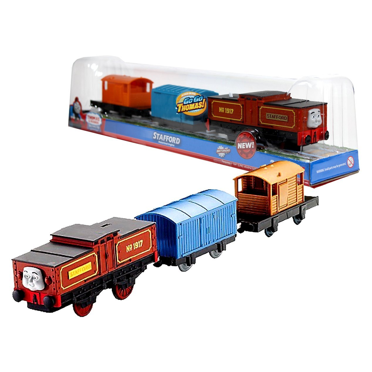 "Fisher Price Year 2012 Thomas and Friends DVD Series ""Go Go Thomas!"" Trackmaster Motorized Railway Battery Powered Tank Engine 3 Pack Train Set - Battery-Electric Shunting Engine STAFFORD with Blue Van and Orange Brake-Van"