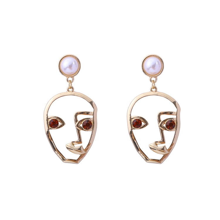 2018 New Exaggerated Punk Statement Metal Hollow Human Face Dangle Earrings for Women