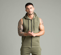 Custom gym men slim fit sports wear wholesale hoodies zip up top