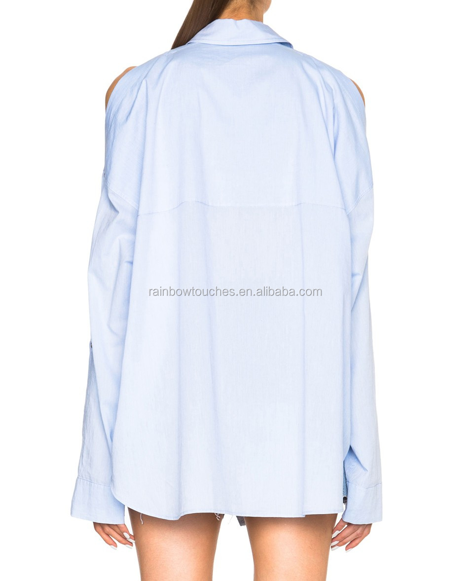 OEM light blue poplin cold shoulder bell sleeve point collar women blouse