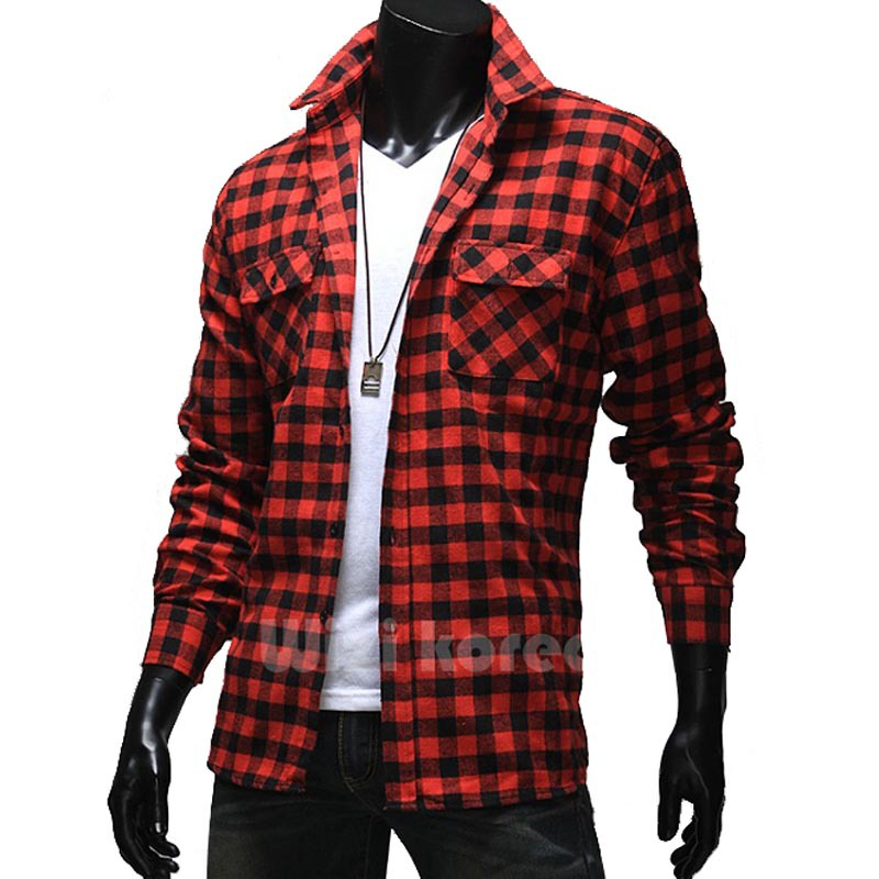 2015 New Fashion Spring Men Shirt Long Sleeve Plaid Shirts Slim Fit Brand Casual Cotton Mens Dress Shirts Chemise Homme Camisa