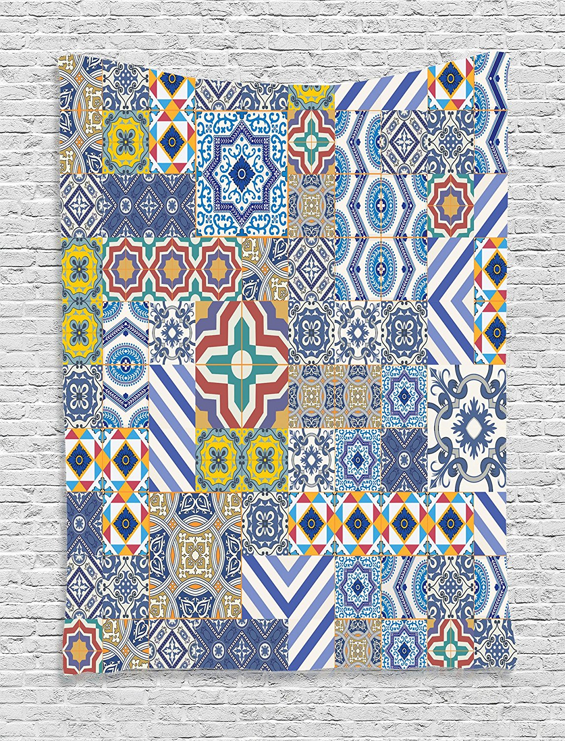 Ambesonne Moroccan Decor Collection, Moroccan Classic Mosaic Tile Inspired Patchwork Style Pattern Artwork Print, Bedroom Living Room Dorm Wall Hanging Tapestry, Blue Mustard