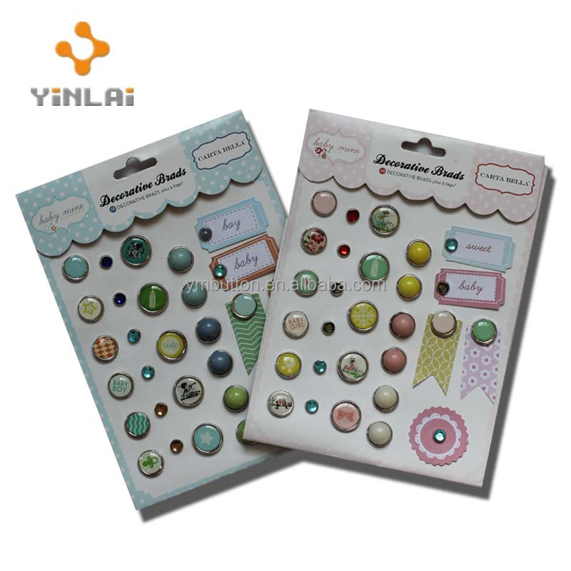 Embroidery brads with gems for craft embellishment