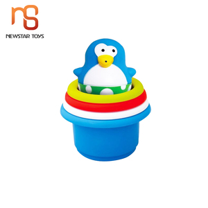 4pcs penguin stacking cups shower time play toy for 12M+ baby