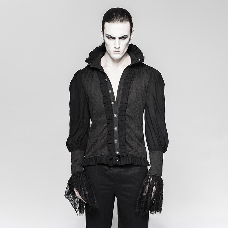 Y-739 Gothic lace puff sleeves brocade swallow-tailed men shirts
