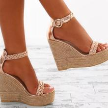 New summer women platform sandals gladiator fashion high heels wedges  espadrilles shoes ladies sexy open toe 46f0876e3a51
