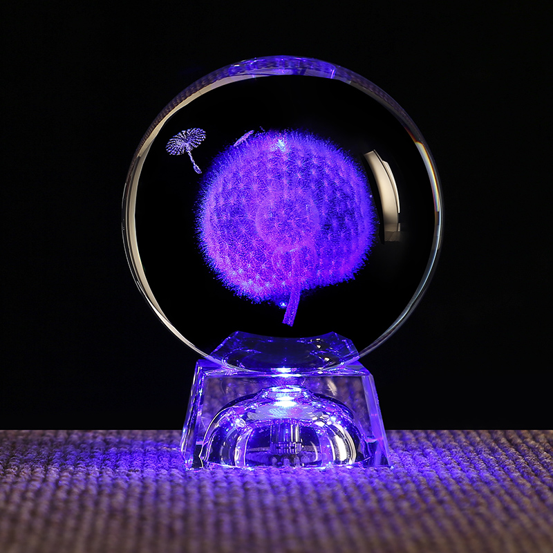 Hot Sale 80mm Personalized K9 3d Engraved Crystal Balls Snow Globe Ball Spheres Gift With Led Base