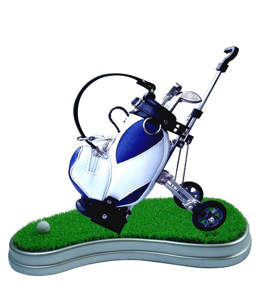 Golf Pens with Mini Desktop Golf Bag Holder on the Green with Mini Golf Ball, 6-Piece Gift Set