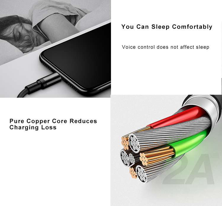 1.5m 3m Voice Control Fast Charging Led Light Up Micro Type C 2.0 Android Usb Cable