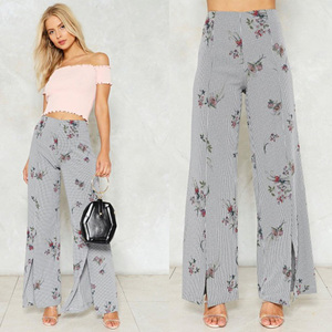 Modern women fashion wide leg pants nip it in the bud gingham high waist pants slit front floral print pants