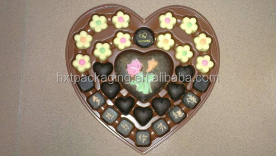 Customized plastic heart shape chocolate packaging box