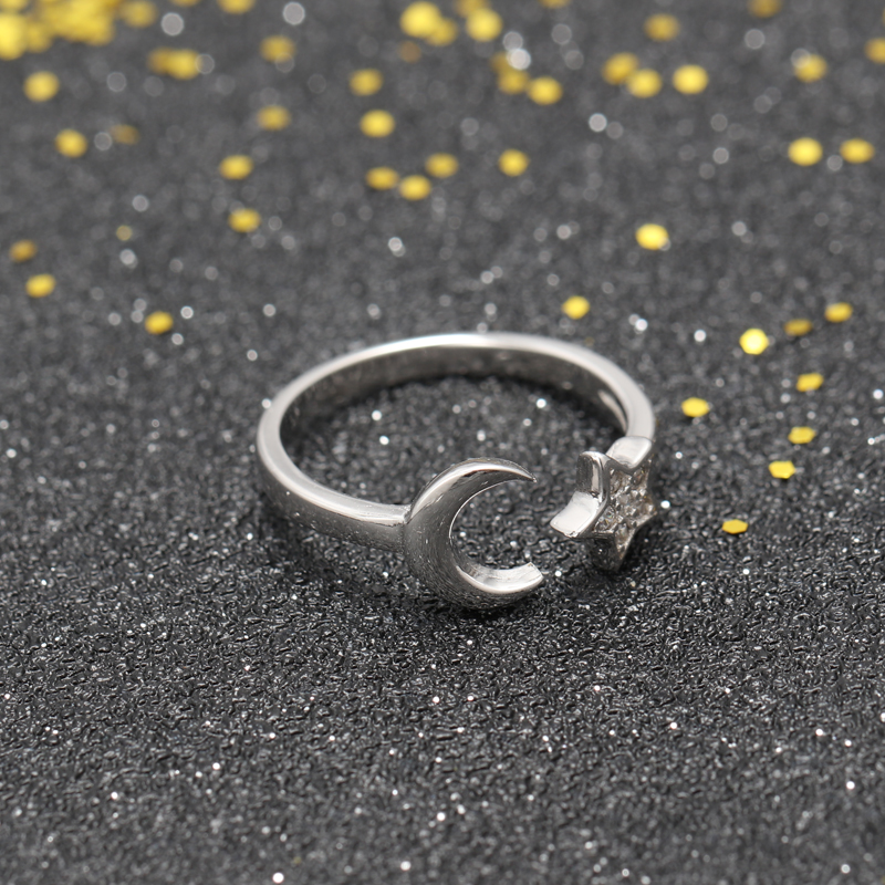 whosesale jewelry rhodium plating moon and star 925 silver opening ring