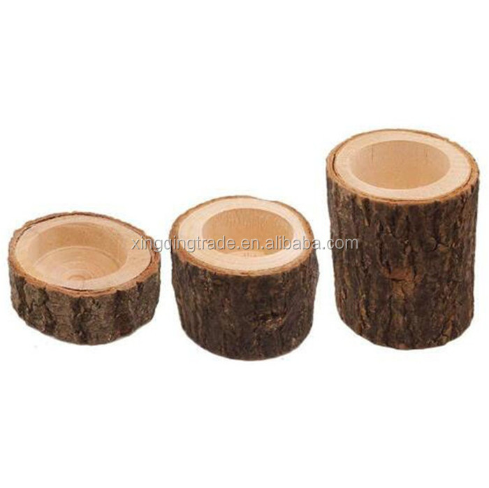Wooden Stump Candle  Holder Votive Tealight Candle Holder Home Party Decor