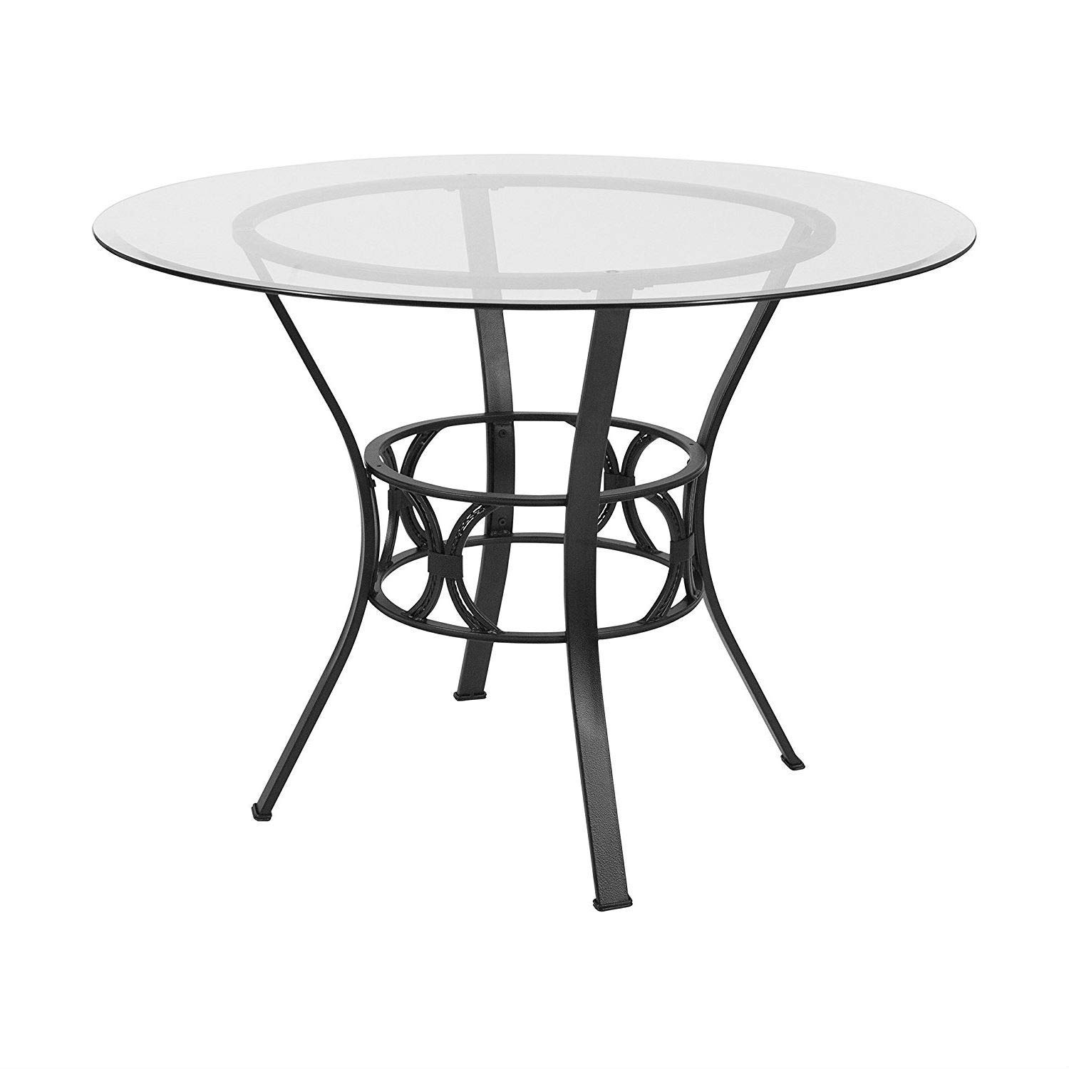 BeUniqueToday Round 42-inch Glass Dining Table with Metal Frame in Black Finish, Dining Table with Metal Frame in Black Finish That Will Add an Elegant Aspect to Your Eat-in Kitchen or Dining Room