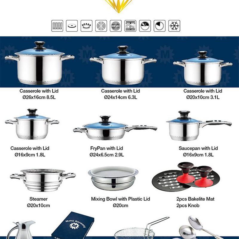 33pcs cookware set steel stainless cooking fry pan and casserole
