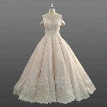 New Collection Princess Wedding Gowns Heavy Hem Glitter Crystal Beads Dress Bridal Gown