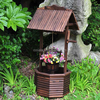 Wooden Wishing Well Garden Display Planter Pot Floral Feature