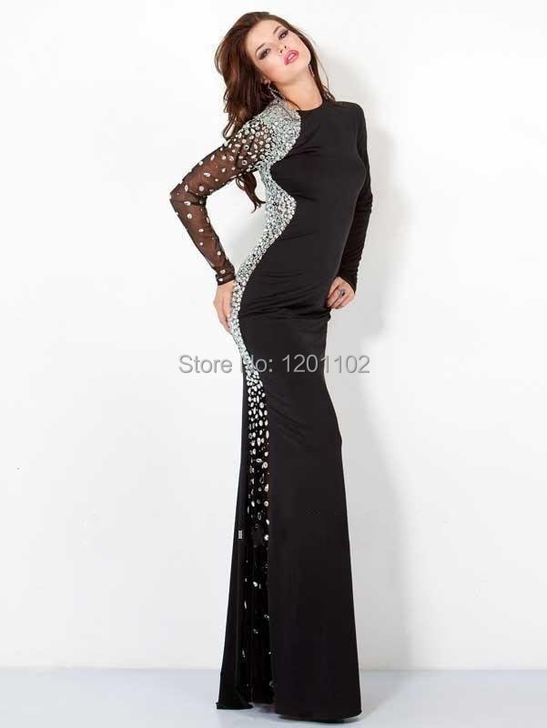 Get Quotations · Vestidos De Fiesta 2015 New Arrival Mermaid Crystal Long  Sleeve Black Jersey Long Evening Dresses Formal 5518f8fd49cf